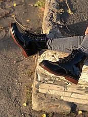 Женские зимние лаковые ботинки в стиле Dr. Martens 1460 Black Lacquered с мехом, фото 3