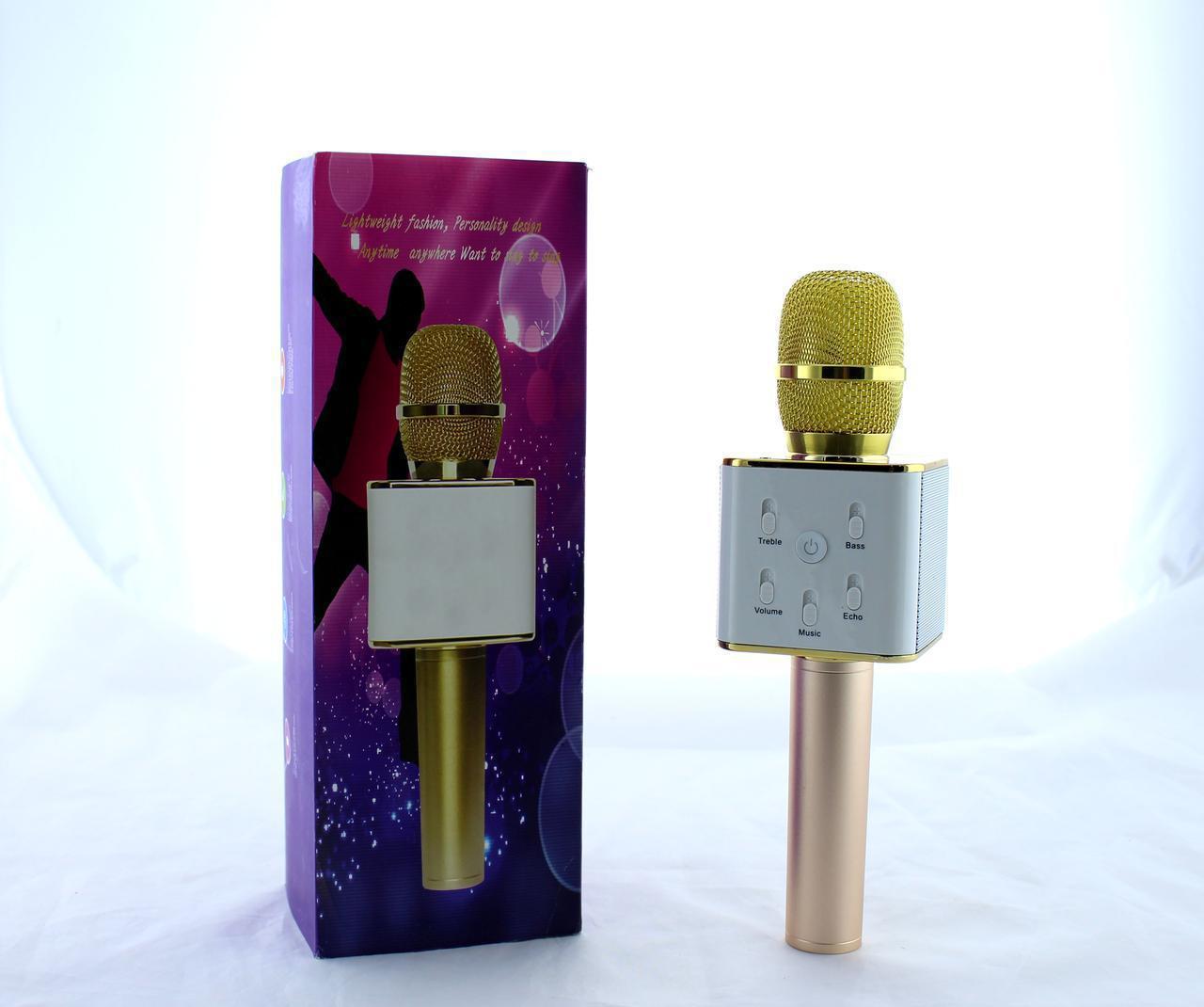 Микрофон DM Karaoke  Q7 GOLD, Микрофон для караоке, Беспроводной микрофон, Bluetooth микрофон