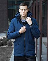Парка мужская Pobedov зимняя из коттона с капюшоном и карманами, повседневная (синяя)