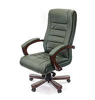 Кожаное кресло руководителя с высокой спинкой и деревянным декором ГАСПАР EX MB зеленый