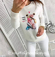 Женский теплый свитшот белый 5 расцветок