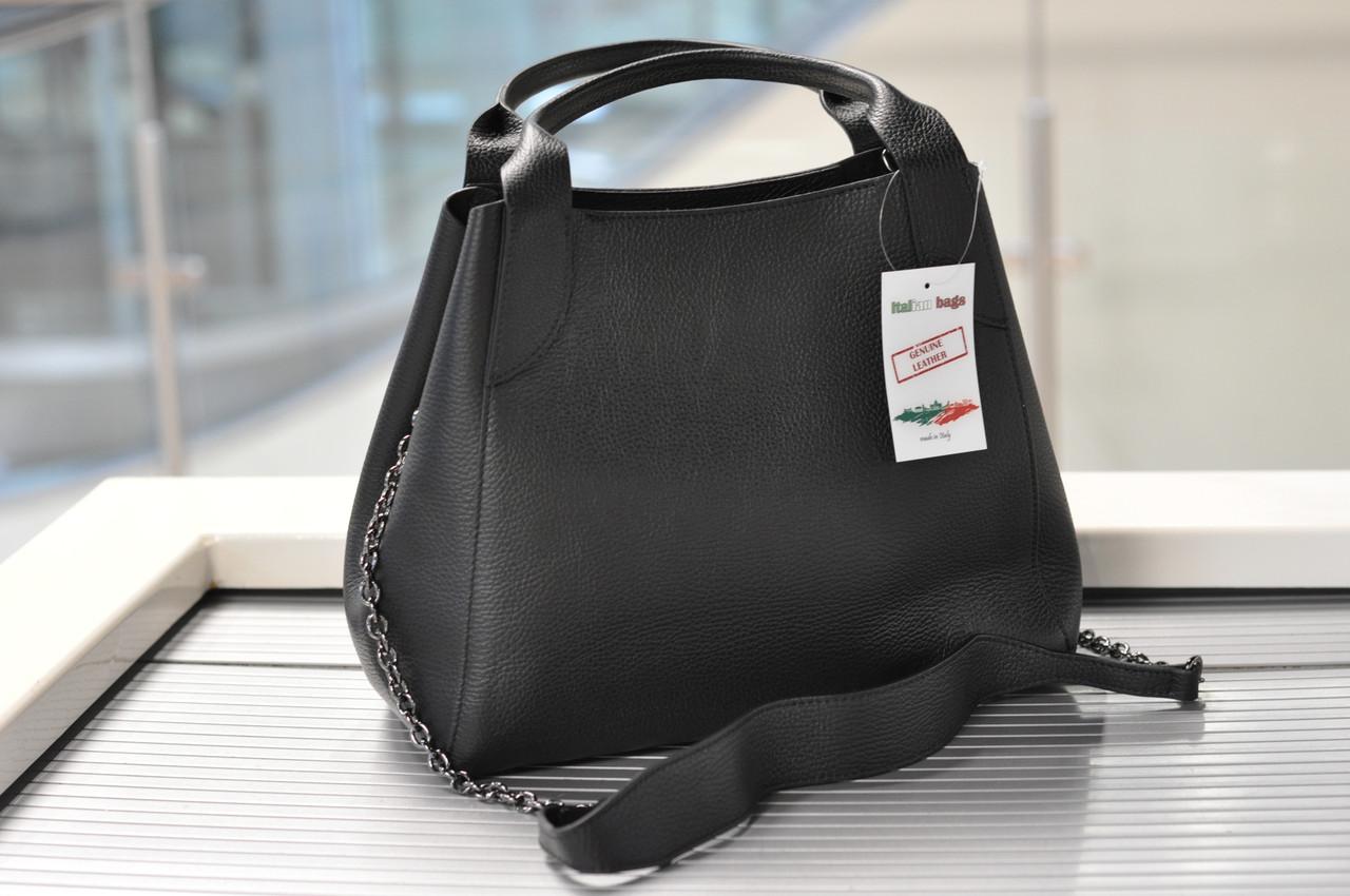 Женская сумка кожаная черная 6503