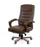 Кожаное кресло руководителя с высокой спинкой и деревянным декором ГАСПАР EX MB темнокоричневый