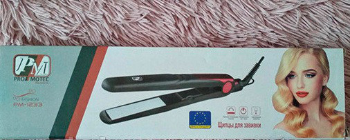 Утюжок PROMOTEC PM 1233, Керамическое покрытие утюжок, Утюжок с регулятором температуры, Выпрямитель, Щипцы