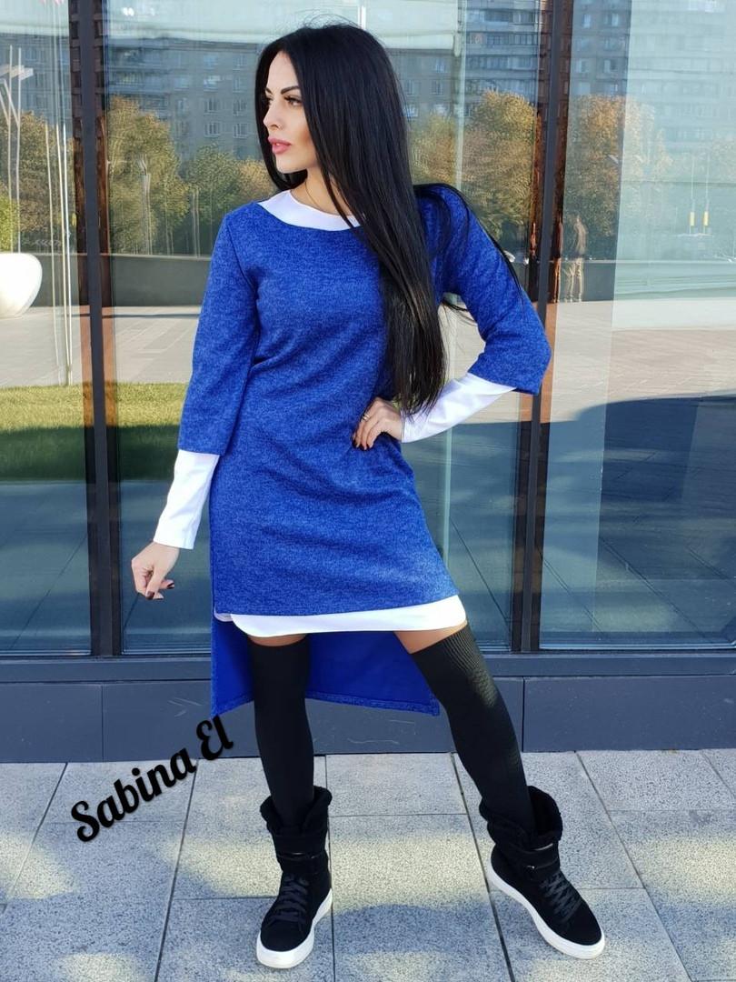 Стильный женский ангоровый костюм 2ка: платье+туника, с 40 по 46рр, 6 цветов 44-46, синее