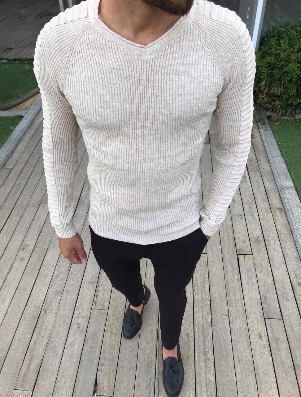 😜 Свитер - Мужской свитер бежевый