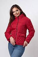 Женская молодежная демисезонная куртка. Код модели К-144-37-19. Цвет красный.