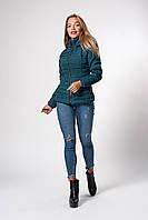 Женская демисезонная куртка. Код модели К-115-37-20. Цвет изумруд.