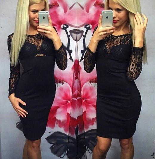 Черное трикотажное платье с гипюровым верхом (40-46) 46