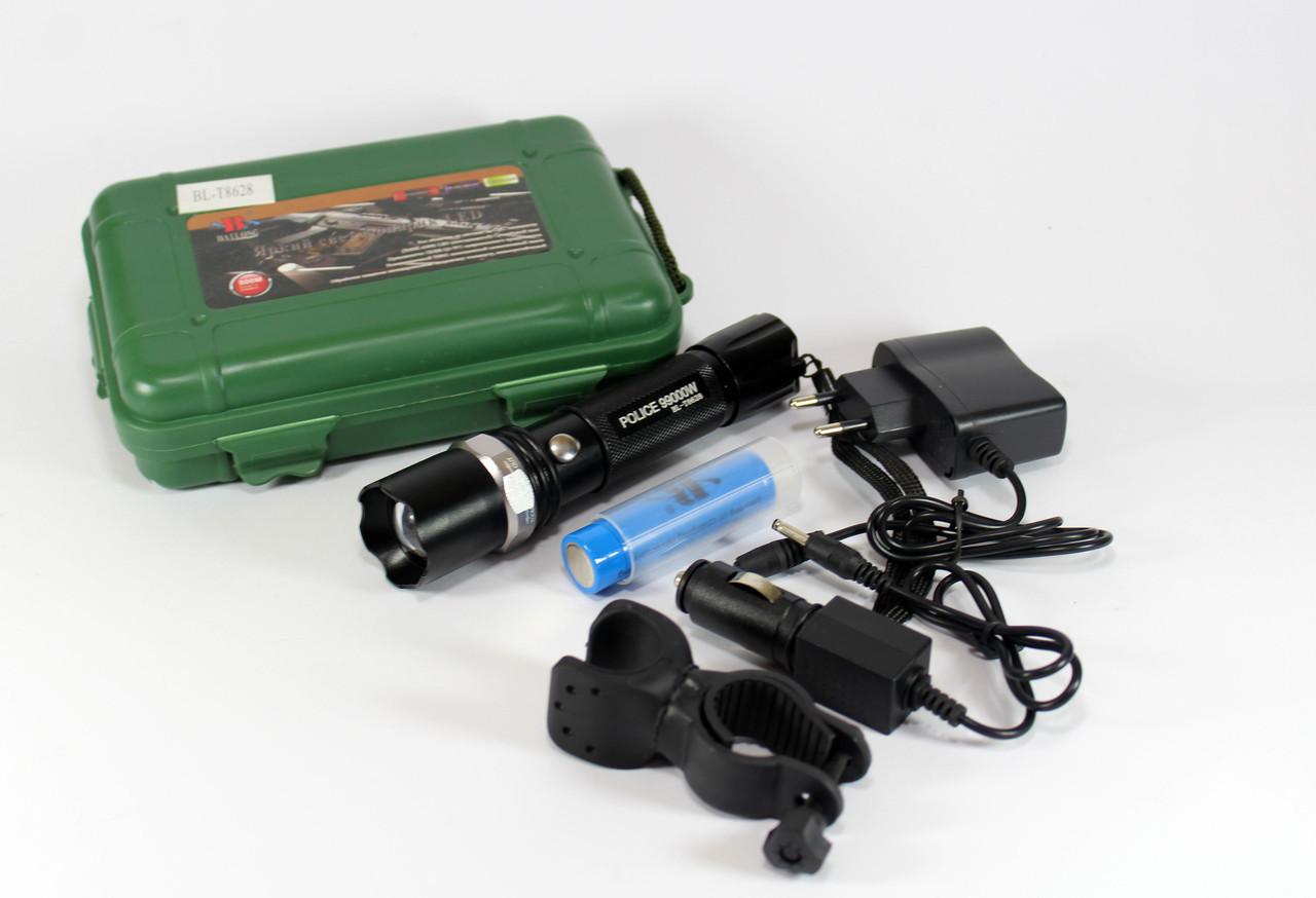 Фонарик BL 8628 XPE, Фонарик сверхмощный, Велосипедный фонарик с креплением, Тактический вело фонарь