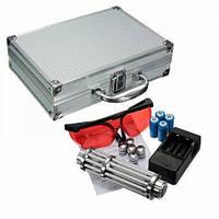 Указка LASER B017, Лазерная указка, Лазер сверхмощный в кейсе, Лазер на аккумуляторе, Лазер с насадками, фото 1