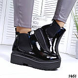 Стильные лаковые демисезонные ботинки женские черные, фото 4