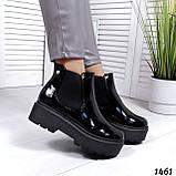 Стильные лаковые демисезонные ботинки женские черные, фото 5