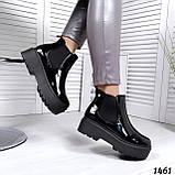 Стильные лаковые демисезонные ботинки женские черные, фото 6