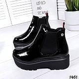 Стильные лаковые демисезонные ботинки женские черные, фото 2