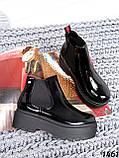 Стильные лаковые демисезонные ботинки женские черные, фото 7