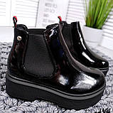 Стильные лаковые демисезонные ботинки женские черные, фото 3