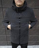 Парка мужская Pobedov фирменная теплая зимняя стильная оригинальная, в черном цвете
