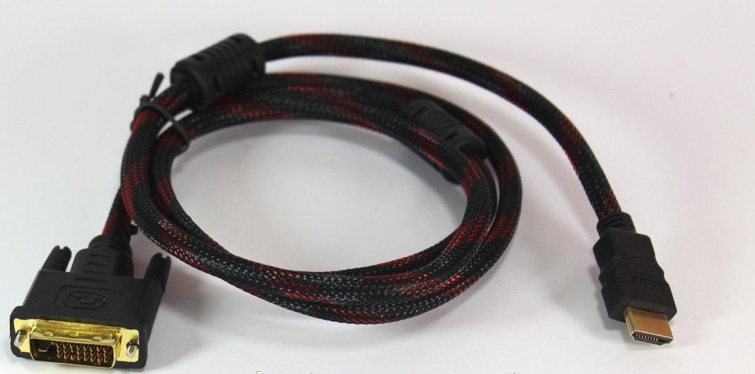 Кабель  HDMI-DVI (V1.4) 1.5M , Усиленная обмотка шнура, Кабель соединитель DVI устройства и HDMI устройства