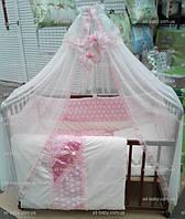 Комплект детского постельного белья для новорожденных  «BONNA LUX» розовый