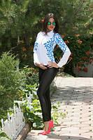 Стильные женские лосины с кожаными вставками