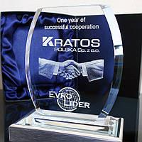 Логотип Вашей компании в хрустальном кристалле - Подарок руководителю