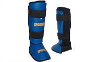 Защита для ног (голень+стопа) Кож-винил SPORTKO SP-331-B (р-р S-XL, синий)
