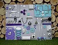"Развивающая доска Бизиборд Модель 50*65 ""Спинер + розетка "" бізіборд busyboard бирюза с фиолетовым"