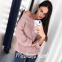 Модный теплый вязаный свитер в расцветках
