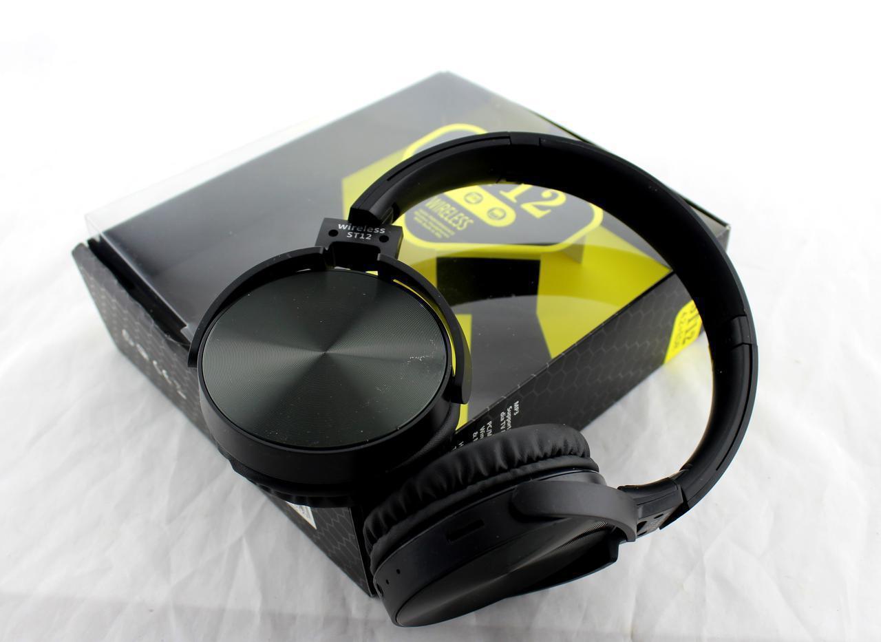 Наушники MDR ST12 Bluetooth, Блютуз наушники, Беспроводные наушники, Наушники с МР3 плеером и FM радио