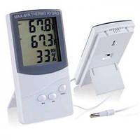 Термометр TA 318 + выносной датчик температуры, Цифровой термометр с гигрометром, Метеоприбор домашний, фото 1