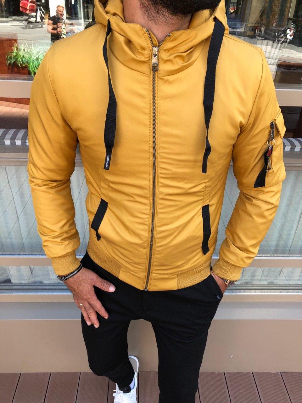 😜 Бомбер - Мужская куртка с капюшоном осень/зима желтая