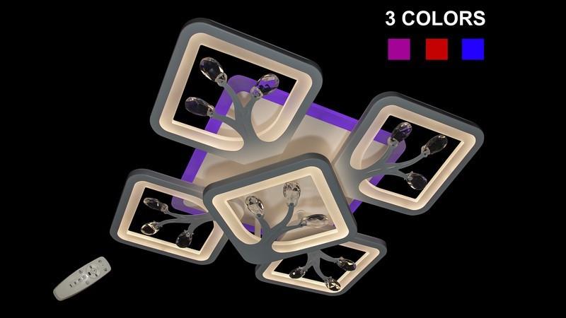 Світлодіодна люстра припотолочная на три режиму світла 8859/4+1 Color LED