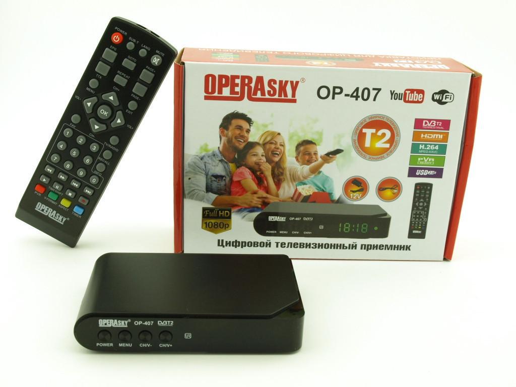 TV тюнер Т2 приемник для цифрового ТВ Operasky  OP-407, Ресивер, Внешний тюнер USB HDMI, Приставка к ТВ