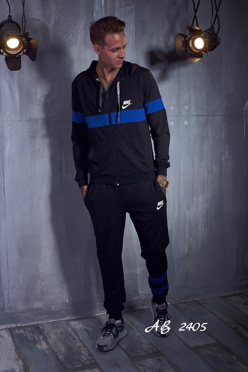 Спортивный мужской костюм с цветными вставками, кофта на змейке с капюшоном, реплика Nike