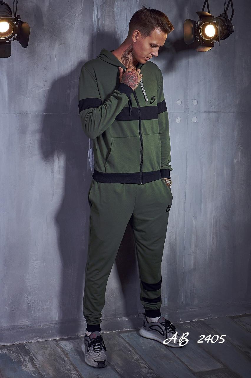 Спортивний чоловічий костюм з кольоровими вставками, кофта на блискавці з каптуром, репліка Nike