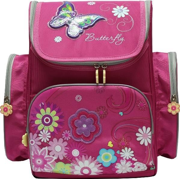 Ранец каркасный, ортопедический Dr.Kong TB003, Butterfly, размер 35,5*26*13, розовый
