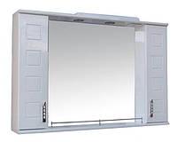Зеркало для ванной комнаты с 2 пеналами и подсветкой Кватро 105