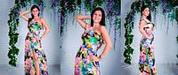 Платье Сарафан на одно плечё яркие цветы (распродажа)