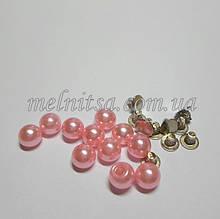 Бусины-жемчужинки с заклепками, 6 мм, 5 шт. цвет св.розовый