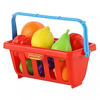 Игровой набор Полесье продуктов с корзинкой №2 (9 элементов) красный (46963-1)