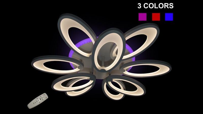 Світлодіодна люстра для низької стелі 8889/6+3 LED Color