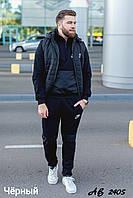 Теплый мужской зимний спортивный костюм тройка: кофта, штаны и жилетка ни синтепоне со съемным капюшоном