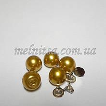Намистини-перлинки з заклепками, 8 мм, 5 шт. колір золото