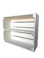 Ящик деревянный белый длинной полкой (ДхШхВ:50*40*16)