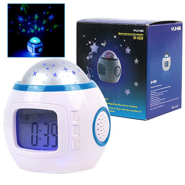 Ночник с часами 1038, Настольный светильник с термомтром, Светильник с будильником, Ночник с проектором неба