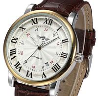 Мужские механические часы Winner Cartier. Классические наручные часы на ремешке с отображением даты