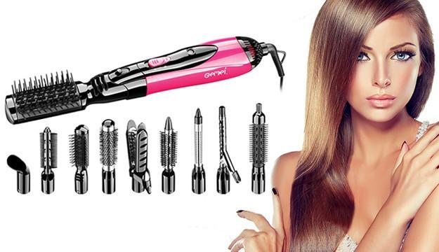 Фен GM 4835, Воздушный стайлер для волос, Прибор для укладки волос, Фен для укладки, Мощный фен с насадками