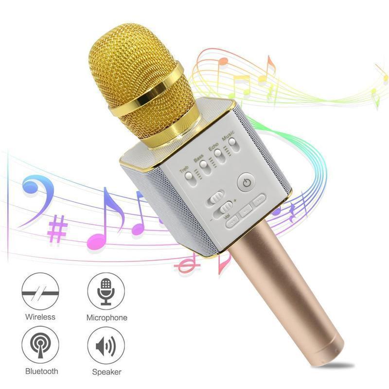 Микрофон DM Karaoke Q9, Беспроводной микрофон караоке bluetooth, Вокальный микрофон, Микрофон динамик