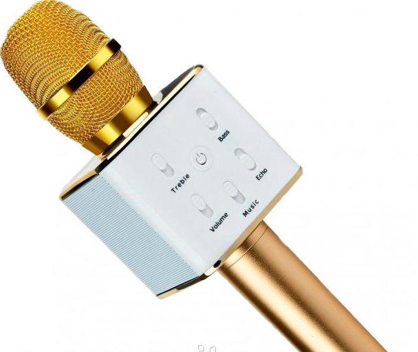 Микрофон DM Karaoke Q7 GOLD BT, Блютуз микрофон, Беспроводной микрофон, Микрофон караоке, Микрофон динамик